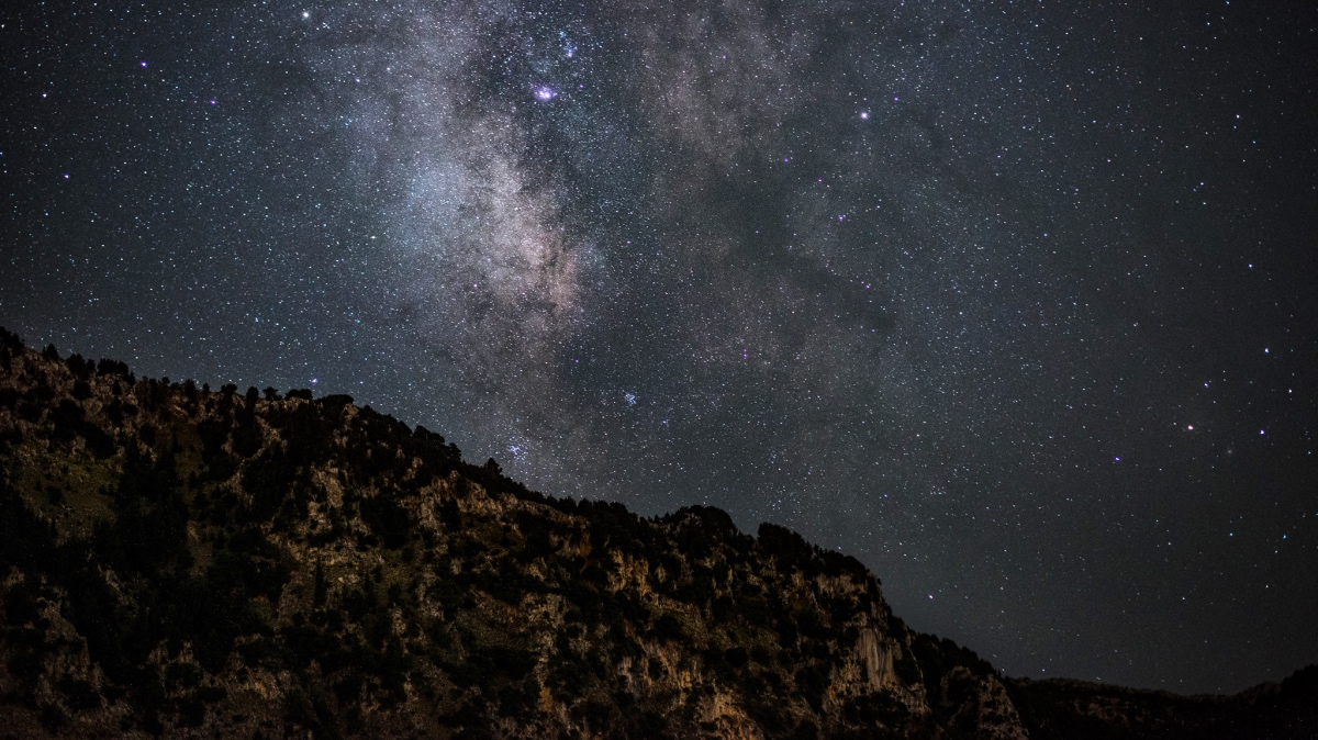 Milky way beyond the mountain